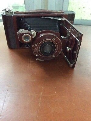 Vintage Kodak Red Kodex Rainbow Hawk-Eye No.2 Folding Camera