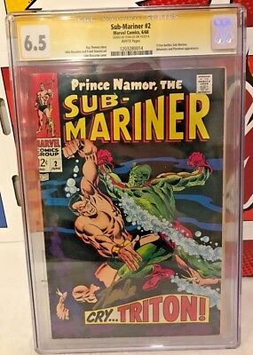Sub-Mariner #2 (1968) CGC 6.5 SS Signed STAN LEE White Pages