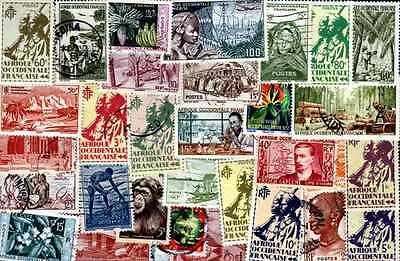 AOF- AFRICA WESTERN FRANCAISE collectables of 25 à 100 stamps different