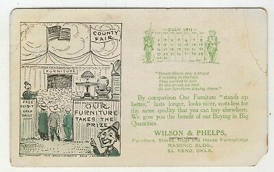 1911 Calendar PC Wilson & Phelps Furniture Stoves Rugs +  Store El Reno Oklahoma