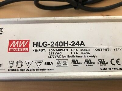 MW HLG-240H-24A Power Supply / Wet Or Dry Use - 100-240VAC 4A - 50/60Hz