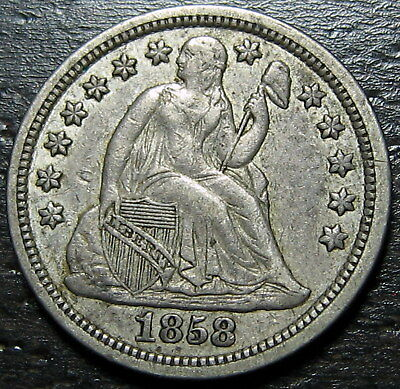 1858 P Seated Dime  --  MAKE US AN OFFER!  #R5304