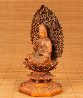 Rare BIG Antique Chinese Old Boxwood Hand Carved Buddha kwan-yin Figure Statue