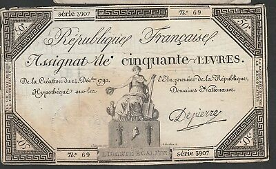 Assignat 50 Livres From France 1792 Large Size
