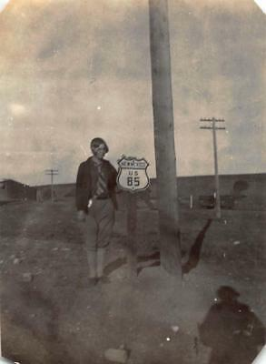 1927 WAGON MOUND Photo OLD HWY 85 STREET SIGN & WOMAN Mora County New Mexico