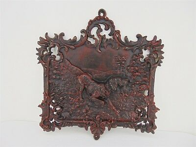 Antique Victorian Ornate Cast Iron FIREPLACE Summer COVER Retriever Hunting Dog
