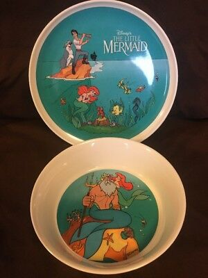 Vintage Disney The Little Mermaid Melamine Plate And Bowl Zak Designs