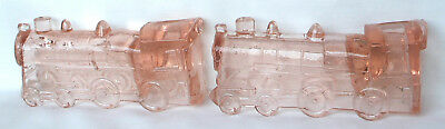 2 Vintage Pink Depression Glass Locomotive Engines #888 Candy Container Exc