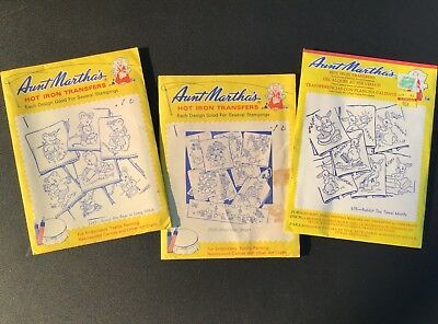 Vintage AUNT MARTHA'S Hot Iron Transfers Day of Week Unused Lot of 3