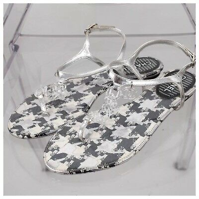 00bfbd15091b7a New Authentic Chanel 39 US 8 silver ankle logo clear plastic chain thong  sandals