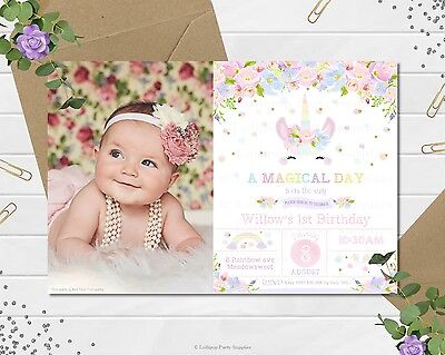 Digital File Unicorn Invitation 1St First Birthday Party Pastel Rainbow Floral