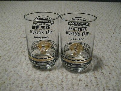 2 Vintage 1964-1965 New York World's Fair New York Central System Drinking  Glas