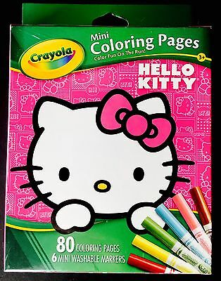 Brand New Crayola Hello Kitty Coloring Book 80 Pages 6 Mini Markers Kids Toy