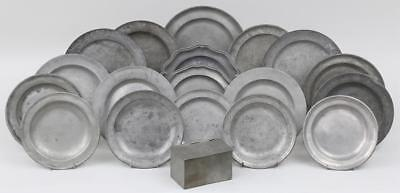 (18) Early Pewter Plates + 1 Hinged Box 18th, 19th Century - Most Signed