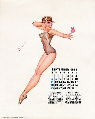 PETTY - SEPT  1955  art illustrated  PIN-UP/CHEESECAKE  model  CALENDER  page