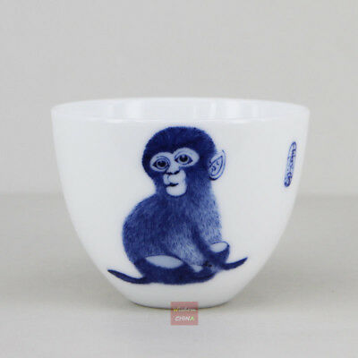 Hand painted monkey Chinese Jingdezhen Blue and White Porcelain Tea Cup 70cc