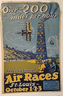 ORIGINAL 1920's International Air Races Vintage Aviation Poster - 14x21