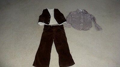 Vintage 1970's Billy the Kid Brown Corduroy & Checked Boys Outfit size 4/5