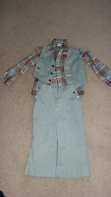 Vintage 1970's Billy the Kid Lt Green Little Boys Jeans Outfit Sz 3T 4T