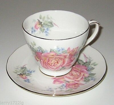Duchess Fine Bone China Cup/Saucer, England - Roses + Violets, White w/Gold Trim