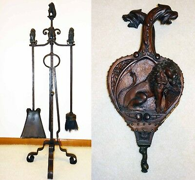 ANTIQUE 1800s FIREPLACE CARVED BELLOWS HAND FORGED IRON TOOLS DRAGONS & LIONS