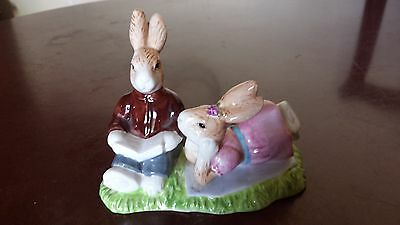 "4.25"" x 5.75"" glazed ceramic boy & girl bunnies with book figurine"