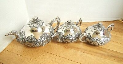 Antique Early 20Th Cent. Indonesian Jogya Silver 800 Tea Set