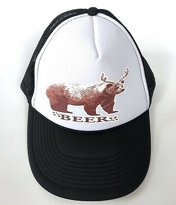 Retro Deer Beer Bear Funny Trucker Hat Cap Mesh SnapBack Black Otto