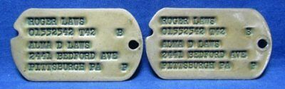 WWII Army Officer Dog Tags Set Pennsylvania NOK Address T42 - YELLOW TINT