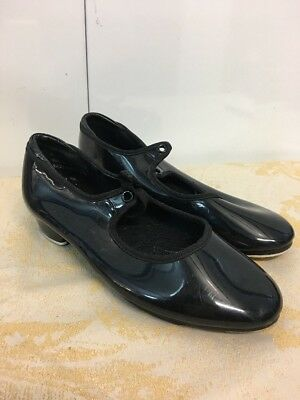 THEATRICALS Girls PATENT LEATHER Heeled BLACK Dance TAP SHOES sz 1 M excellent!