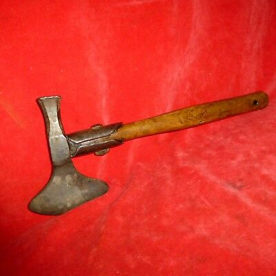 "Rare 1800's Nice 14"" Naval Boarding Axe With Iron Handle Support- Great Cond!"