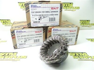 """New Sait 3Pc Cup Brush For Small Grinders 3-1/2"""" X .020 Ss X 5/8""""-11 Knot Wire"""