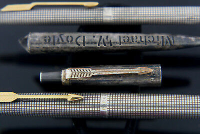 "PARKER 75 Cisele Sterling Silver Fountain Pen Ballpoint Set 14k ""F"" and extra"