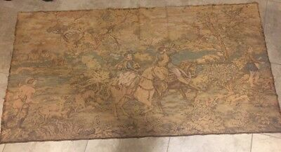 "Large Antique Tapestry French Inspired Hunt Scene Victorian 72"" X 37"" Impressive"