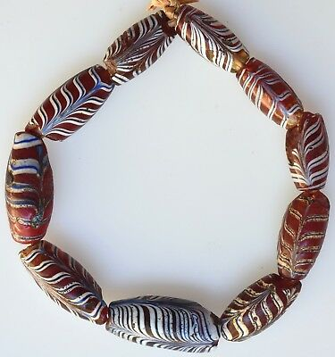 10 Old Venetian Glass Feather Beads - African Trade Beads