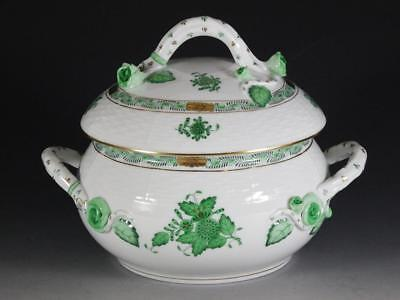 Herend Chinese Bouquet Green Covered Bean Pot / Bowl- MINT