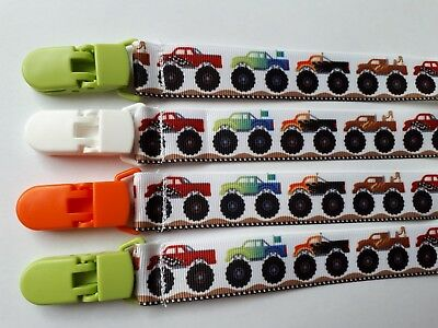 MONSTER TRUCKS Dummy pacifier clip chain ribbon. FREE POST Buy 3 get 1 FREE.