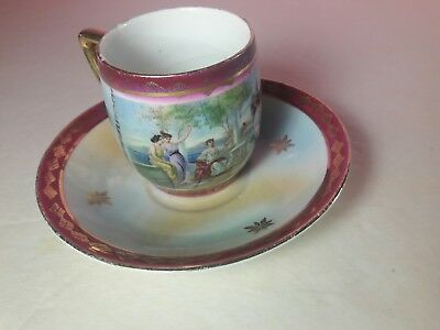 Antique Kpm Hand Painted Cup &  Saucer Ancient Greco-Roman Scene
