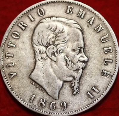 1869 Italy 5 Lire Silver Foreign Coin