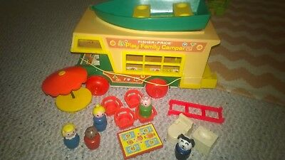 Vintage Fisher Price Little People Camper, Boat and Accessories
