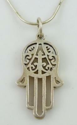 Hamsa Hand Pendant Sterling Silver Link Chain Necklace