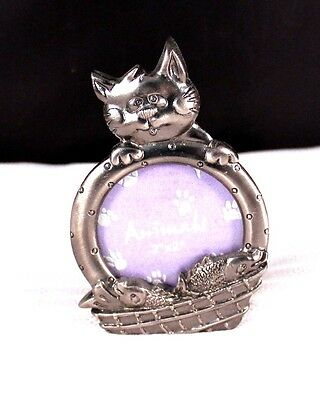 """Unique 4"""" Standing Pewter Kitty Cat Picture Frame for 2x2 Photo"""
