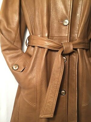 Leathers by New England Sportswear Co Notched Collar Belted Mid-Length Coat Med