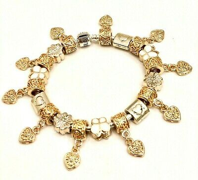 Authentic Pandora  Bracelet W/ Charms Gold! Gold! Gold! Choice Of Box