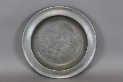 "A Nice 18Th C 13 1/2"" Pewter Deep Dish Charger In Great Old Color And Surface"