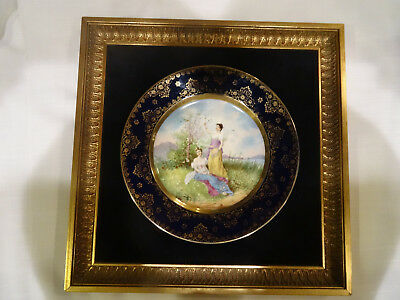 """Vintage ROYAL VIENNA Hand Painted Plate in Gilt Frame 14 1/2"""" Square ~ AWESOME!"""