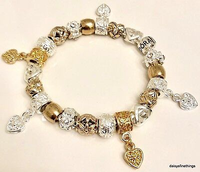 Authentic Pandora  Bracelet W/ Charms Two Tone Hearts And Love  Choice Of Box