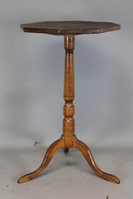 Rare 18Th C New Hampshire Queen Anne Dunlap School Candlestand Octagonal Top