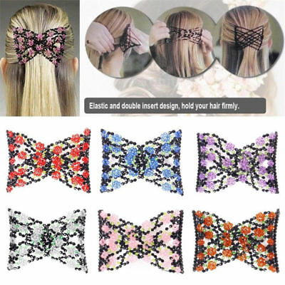 Women Magic Beads Elasticity Double Side Hair Comb Stretchy Hair Combs Clips