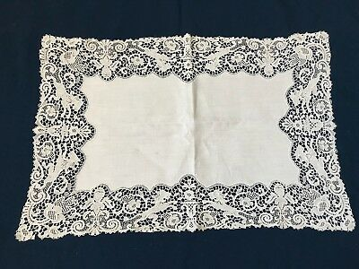 8-Antique Chemical Lace Figural Schiffli Placemats*Angelic Cherubs*Lions*RARE